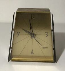 Mid Century Modern Brass & Glass Mantel Clock - Linden made in West Germany