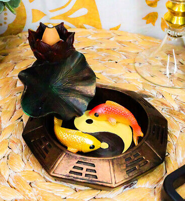 Feng Shui Padma Lotus Basin Yin Yang Koi Fishes Backflow Incense Cone Burner