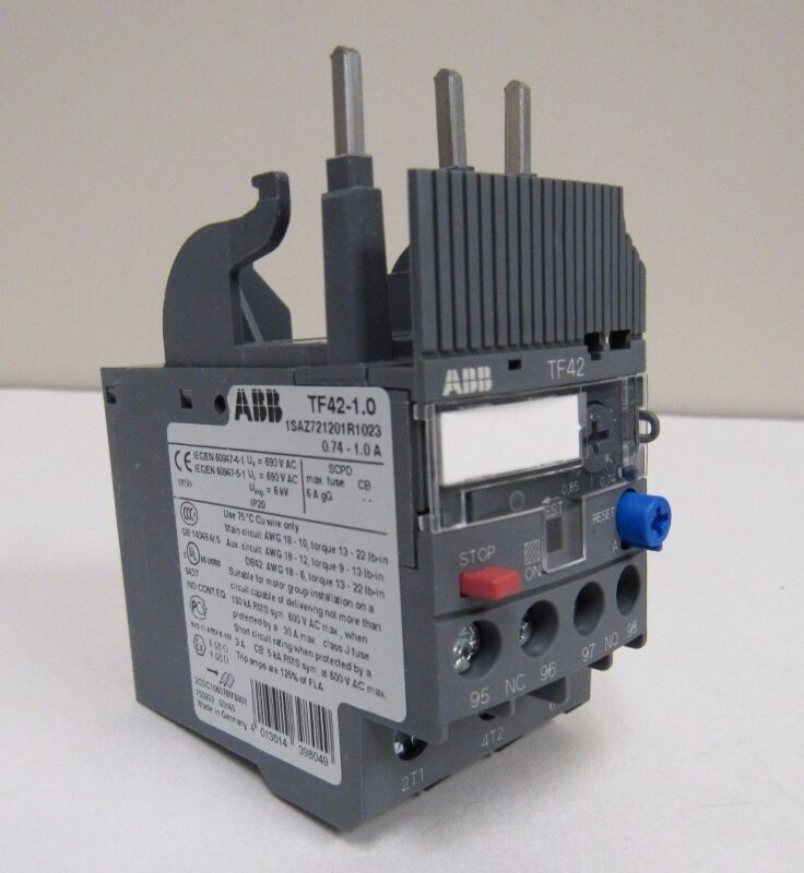 NEW ABB TF42-1.0 THERMAL OVERLOAD RELAY .74-1 AMP MULTI -PHASE NIB