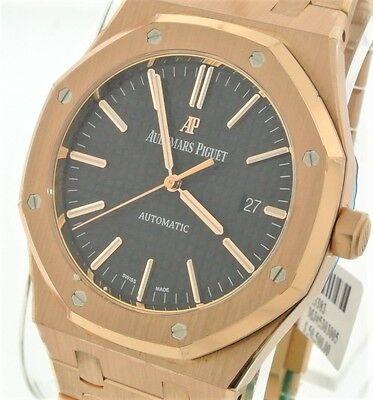 Audemars Piguet Royal Oak 18k Pink Gold Black Dial 41mm 15400OR.OO.1220OR.01 New