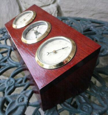 - Hygrometer Thermometer Clock Cherry Wood Trinket Jewelry Storage Box Vintage