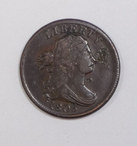 BARGAIN 1808 Draped Bust Half Cent EXTRA FINE 1/2c