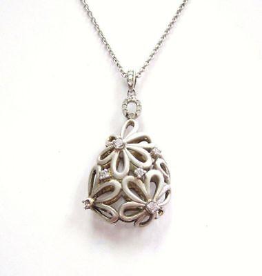 Estate Beautiful 3D Open Diasy Diamond Pendant with Chain Necklace Set silver 3d Diamond Pendant Necklace
