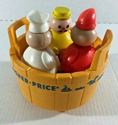 VINTAGE  FISHER PRICE TOY 3 MEN IN A TUB BUTCHER BAKER CANDLESTICK MAKER