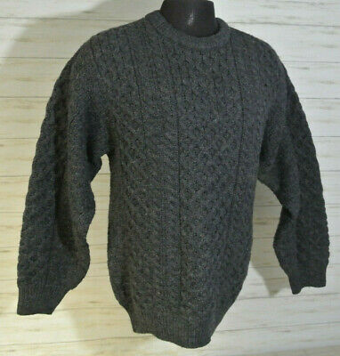 MINTY! ARAN Sweater Market Ireland Sz. MEDIUM Men 100% WOOL Gray Fisherman Cable