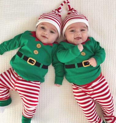 Xmas Newborn Infant Baby Girls Boys Clothes Romper+Pants+Hat Bodysuit Outfit Set