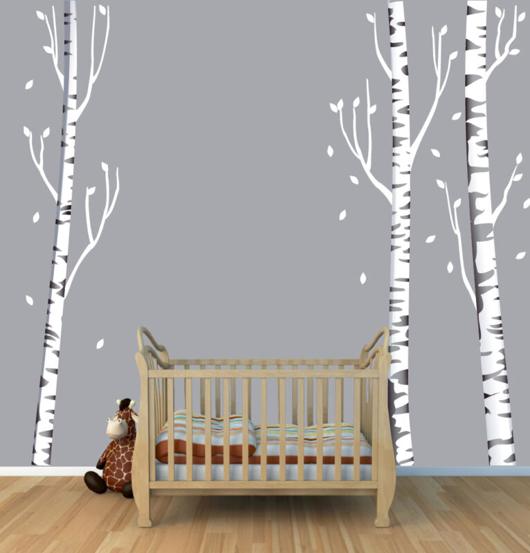 "3x 96"" Birch Tree Wall Sticker, Birch Tree Decal, 3 Birch Tree Wall Mural Theme"