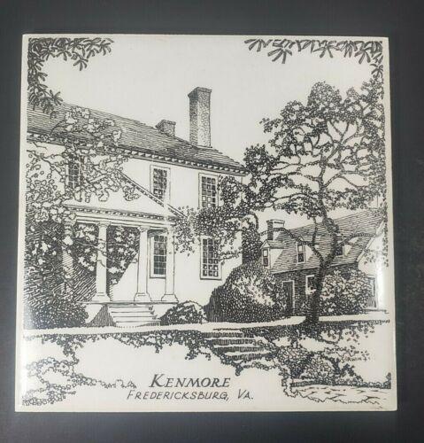 """KENMORE Fredericksburg VA Bergquist Souvenir Trivet Ceramic Tile 6"""" x 6"""" Hanging"""
