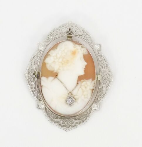 Antique 14k White Gold Filigree Frame Carved Shell Habille Cameo Brooch/Pendant