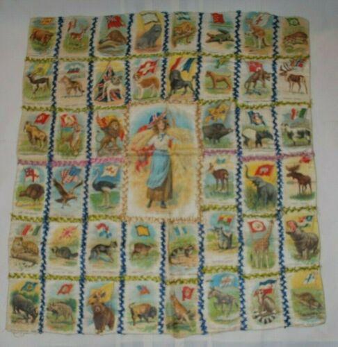Antique Tobacco Silks Quilt Cigarette Silks 45 Animals and their Native Lands