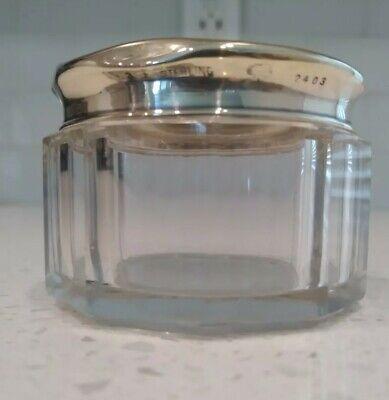 Antique Small Glass Vanity Jar Trinket Box Sterling Silver Top Hallmarked
