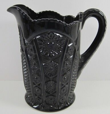 """Indiana Glass Tiara Black Monarch Paneled Daisy Pitcher Heavy Solid Beverage 8"""""""