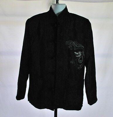Chinese Mandarin Collar Kung Fu Embroidered Dragon Black Jacket Coat Men's Sz M
