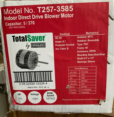 T257-3585 Totalsaver Direct Drive Blower Motor 13 Hp 115v 6.1 Fla 1075 Rpm