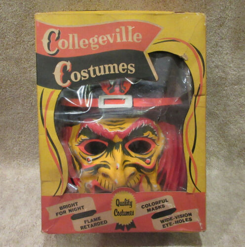 Vintage 60s Collegeville Witch Halloween Costume W Mask In Box Large READ PLEASE