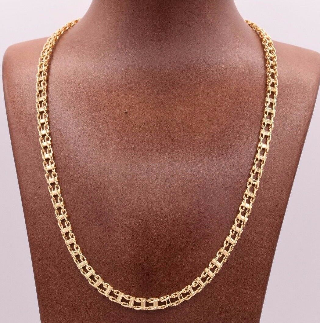 """20"""" Mens Railroad Chain Necklace Real Solid 14K Yellow Gold Fancy Lock Italian"""