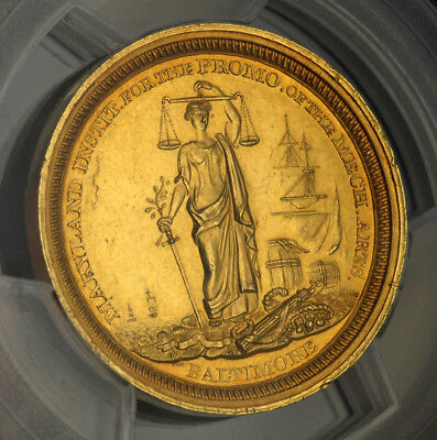 """1853, USA, Baltimore (City). Gold """"Maryland Institute of Art"""" Medal. PCGS MS-61!"""