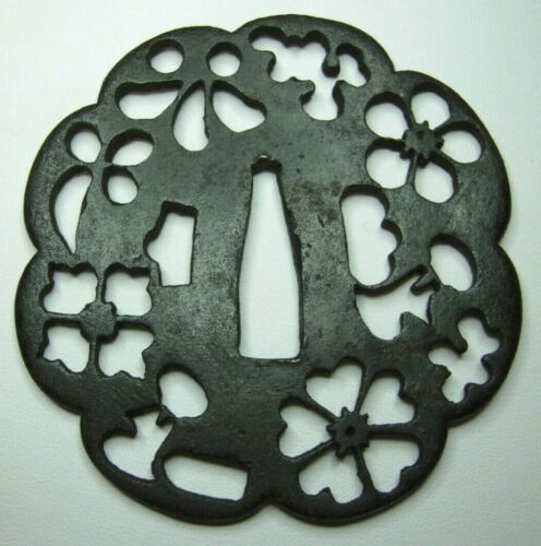 Very Old Iron Japanese Tsuba - Floral