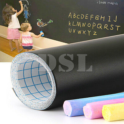 Home Decoration - 200 x 60cm Removable Blackboard Vinyl Wall Sticker Chalkboard Decal + 5 Chalk UK
