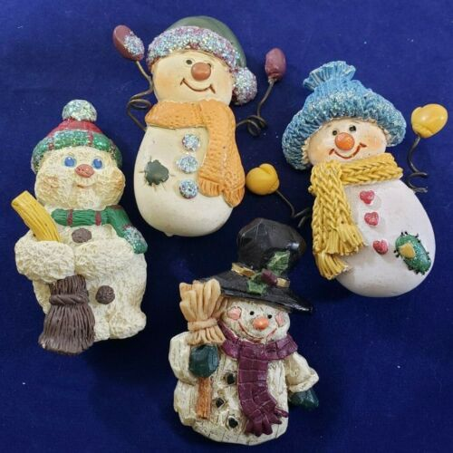 Vintage Christmas Brooch Pin Lot Ceramic Snowman Wire Arms ADORABLE