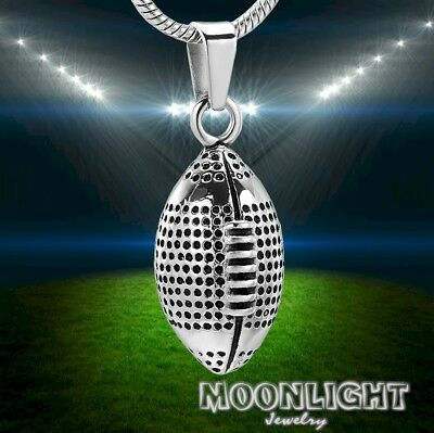 New Football Urn Cremation Rugby Pendant Ash Silver Memorial Necklace](Football Necklaces)