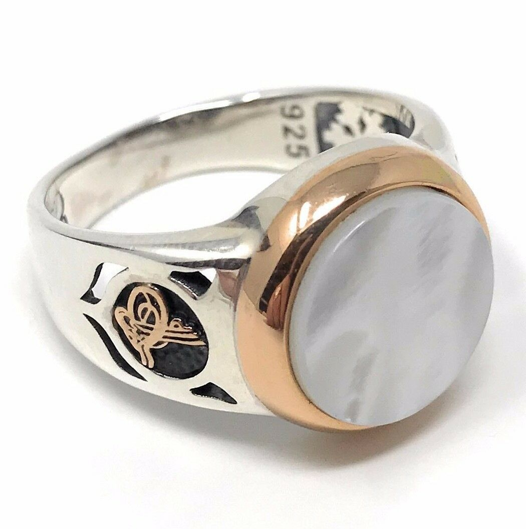 Handmade Unique 925k Sterling Silver Mother Of Pearl Men S