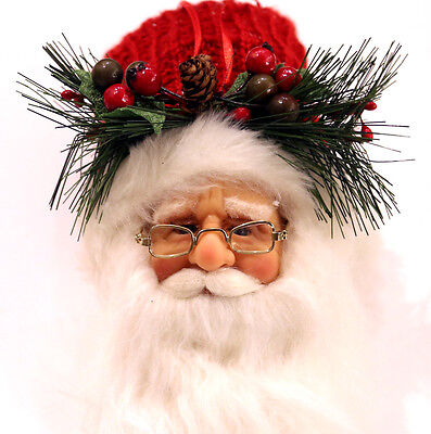 """LARGE 11"""" Realistic Santa Claus Head Christmas Ornament Doll High Quality Hat"""