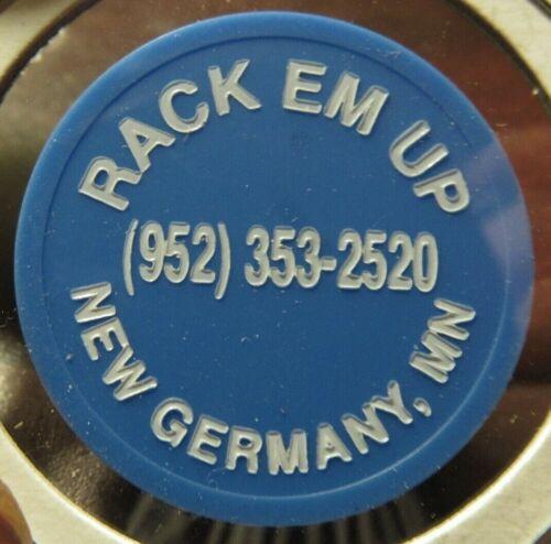 Vintage Rack Em Up New Germany, MN Blue Plastic Trade Token - Minnesota