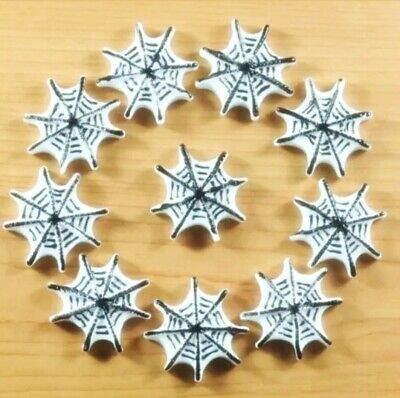 8PC Spider Web 3D Flatback Embellishment Cupcake Toppers Hair Bands Halloween ](Halloween Spider Web Cupcakes)