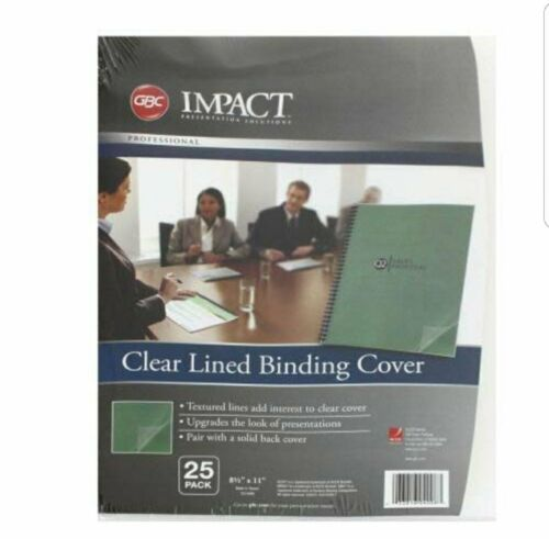 """1 Pack of 25 GBC Impact Clear Lined Binding Cover 8 1/2"""" x 1"""