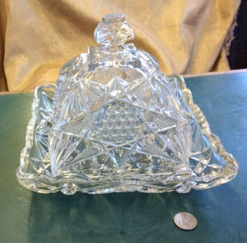 RARE EAPG 1897 US Glass Co. State Series- Illinois Square Butter Dome Dish