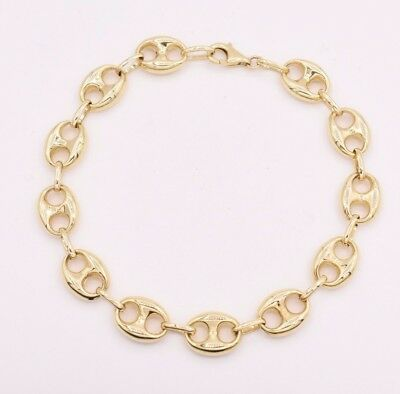 10mm Puffed Mariner Anchor Gucci Link Chain Bracelet Real 10K Yellow Gold (Anchor Mariner Bracelet)