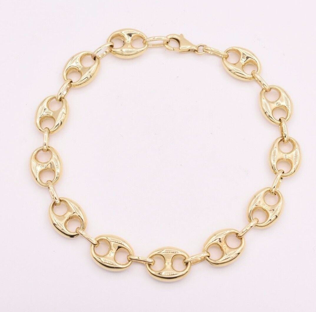 aabaebc9632eb 10mm Puffed Mariner Anchor Gucci Link Chain Bracelet Real 10K Yellow ...