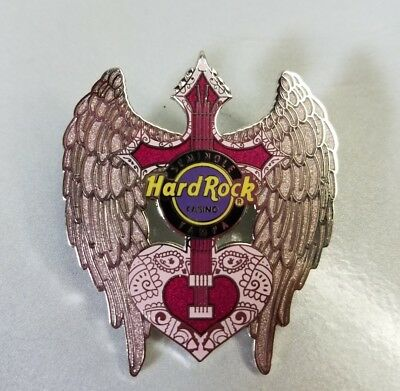 Hard Rock Tampa Cross Heart Pink Angel Glitter Wings Guitar Pin Limited 500