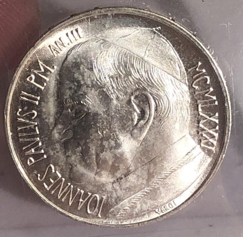 1981 Vatican City Pope Paul II 500 Lire KM160 - .835 Silver BU