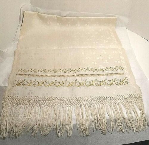 """Antique 1800s Irish Damask Linen Table Runner With Monogram Embroidery 70"""" x 20"""""""