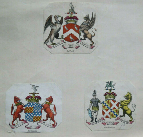 3 ANTIQUE ENGRAVED CREST BOOKPLATES - LIFFORD - DONEGALL & LONDONDERRY