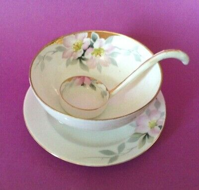 Deco Luster Ware Noritake Mayo or Whipped Cream Bowl with Matching Porcelain Ladle