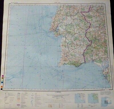 Landkarte Militärkarte DDR, J-29 Lissabon / Lisboa in Portugal, MDI MNV 1965