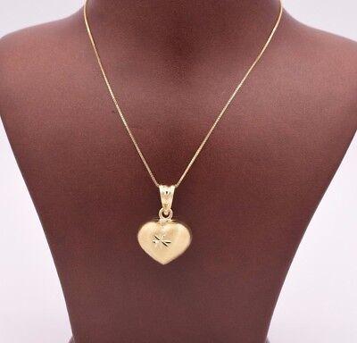 Puffed Heart Diamond Cut Reversible Charm Pendant Necklace Real 10K Yellow (Diamond Cut Puffed Heart Pendant)