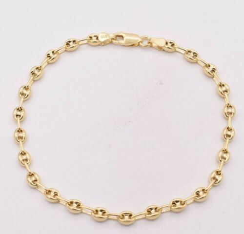 4.5mm Puffed Anchor Mariner Ankle Bracelet 14K Yellow Gold Clad Silver 925