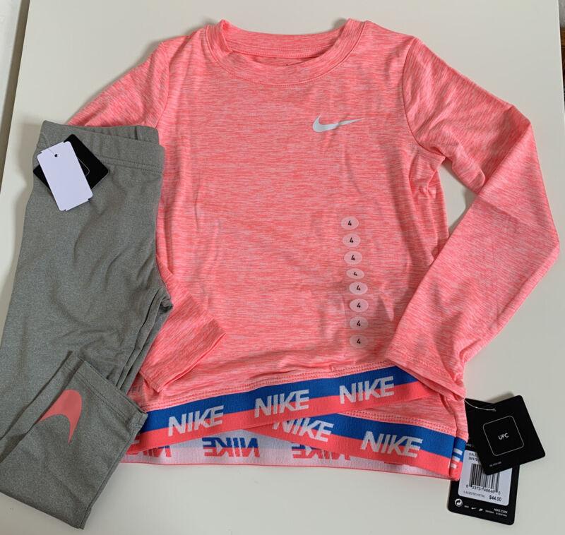 NWT Nike Lilltle Girls 2 Piece Shirt & Legging Set Grey Heather Sz 4