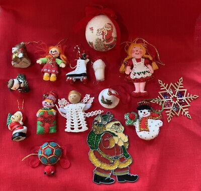 Vintage christmas Tree ornament lot Of 15 felt, sequins, Ceramic, And Plastic