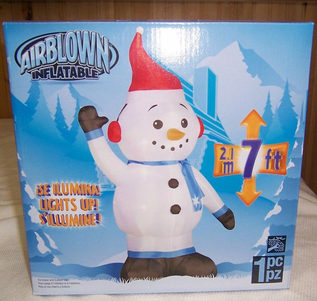 Den 7 Ft Inflatable Snowman Outdoor Christmas Decor Holiday Figurine Gemmy
