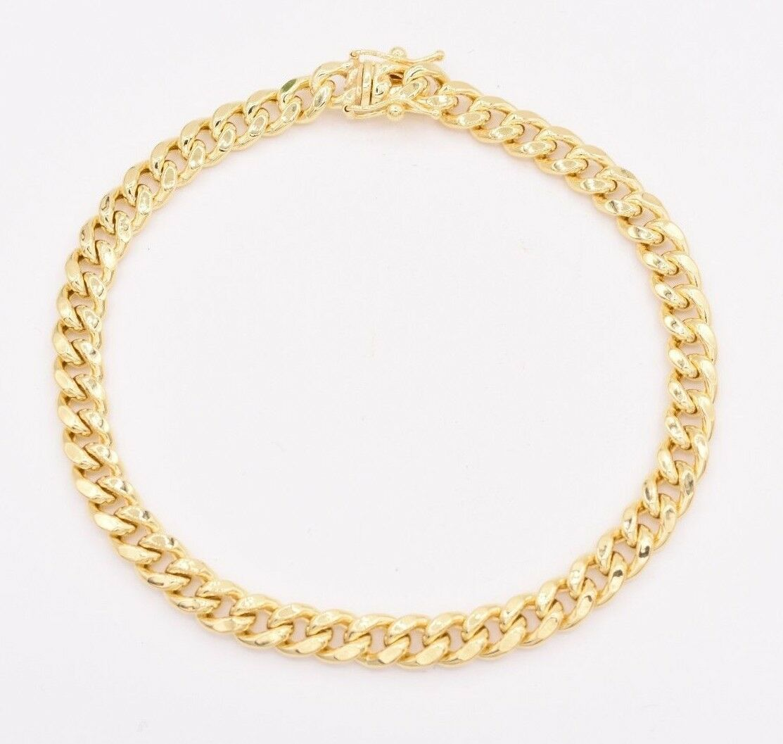 2bb2d86716684 6mm Mens Miami Cuban Link Bracelet Box Clasp Real 10K Yellow Gold ...