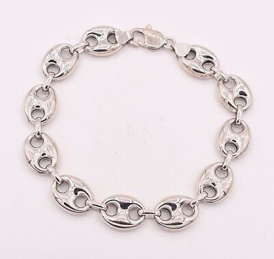 14mm Puffed Gucci Anchor Mariner Link Bracelet 14K White Gold Clad Silver (Marine Links 14k Gold Bracelet)