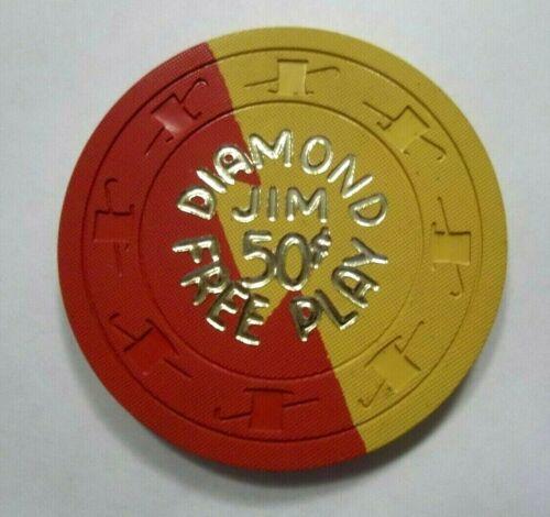 Diamond Jims Nevada Club Downtown Las Vegas 50c Free Play Poker Chip ~ 1962