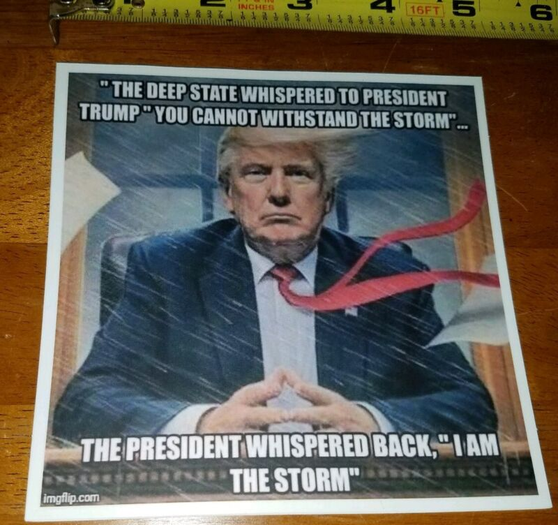 TRUMP STICKER: I AM THE STORM! AWESOME ANTI DEEP STATE PRO TRUMP 2020 MAGA
