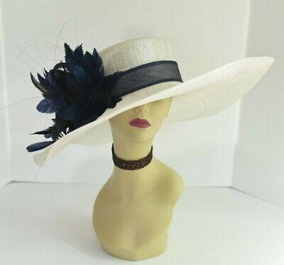 Navy Derby Hat (M58(Ivory/Navy)Kentucky Derby Church Wedding Royal Ascot Wide Brim Sinamay)