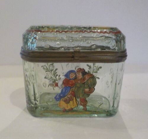 Bohemian Enameled Art Glass Footed Sugar Casket / Box, c. 1890
